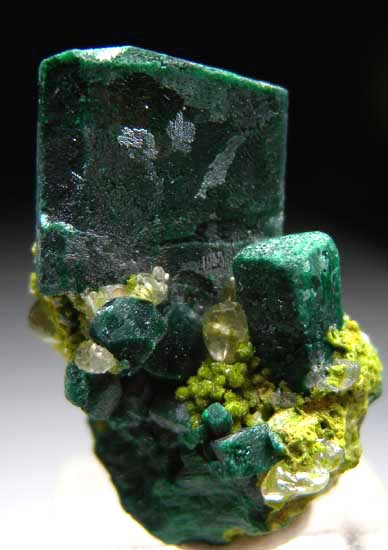 malachite after azurite on balydonite